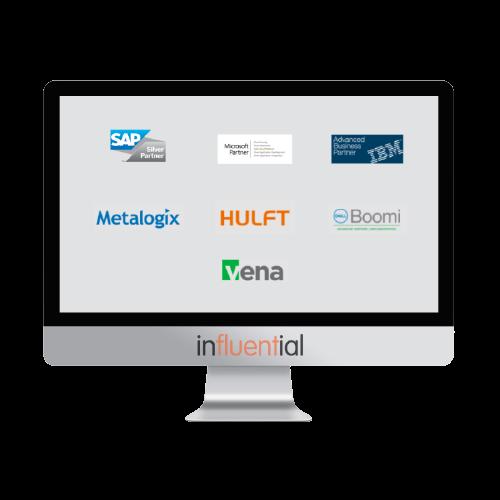 Laptop showing Influential Software's official UK licensing partner logos: SAP, IBM, MuleSoft, Boomi, Vena, HULFT, Metalogix, and Microsoft
